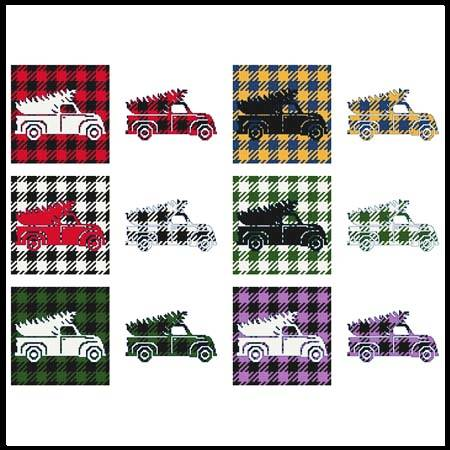 cross stitch pattern Fun With Plaid - Truck With Christmas Tr