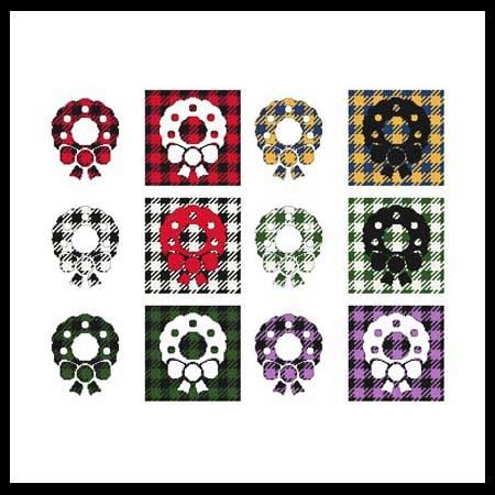 cross stitch pattern Fun With Plaid - Wreath