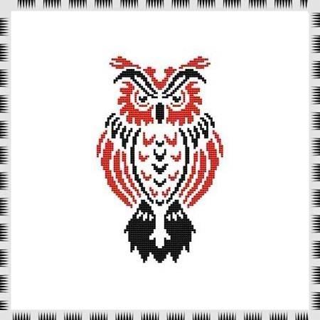 cross stitch pattern Tribal Owl 10