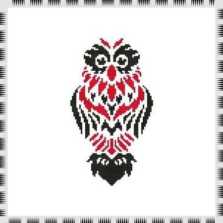 cross stitch pattern Tribal Owl 01