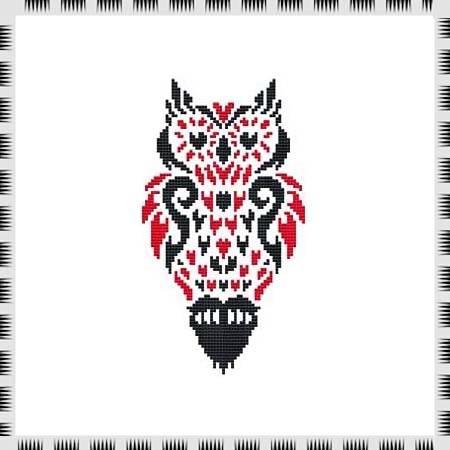 cross stitch pattern Tribal Owl 02