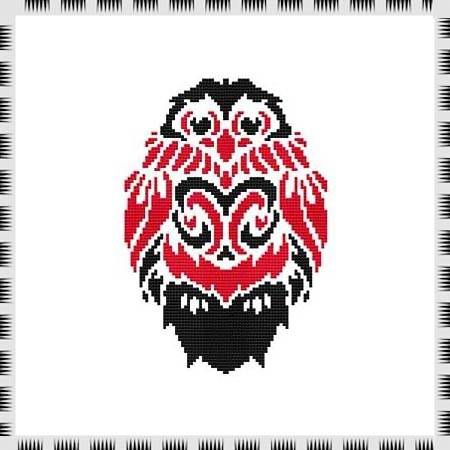 cross stitch pattern Tribal Owl 03