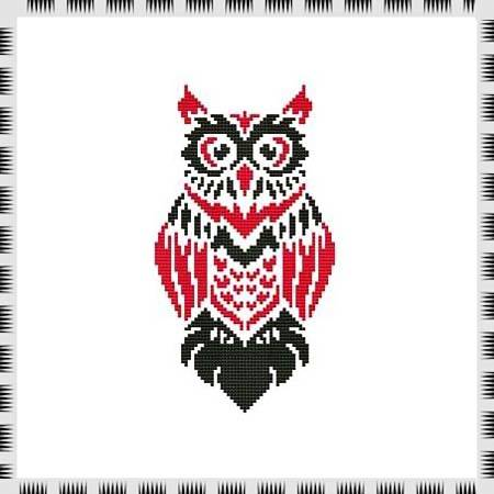 cross stitch pattern Tribal Owl 04