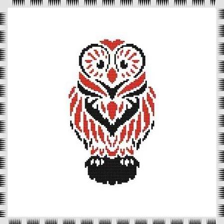 cross stitch pattern Tribal Owl 06