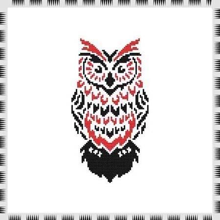 cross stitch pattern Tribal Owl 08