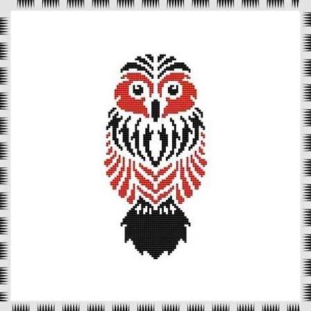 cross stitch pattern Tribal Owl 09