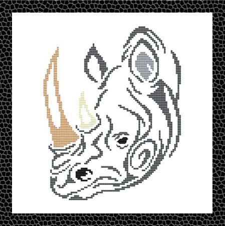 cross stitch pattern Tribal Rhino