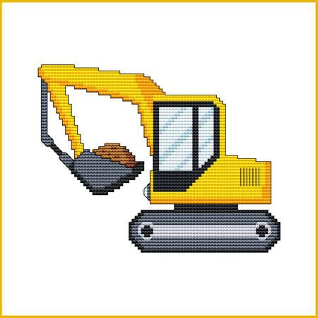cross stitch pattern Construction Truck - BACK HOE