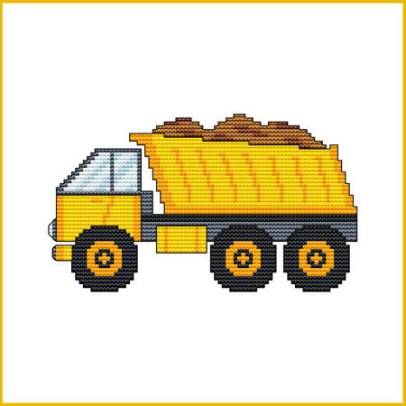 cross stitch pattern Construction Truck - DUMP TRUCK