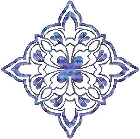 cross stitch pattern Blue Decorative Quilt Block 01