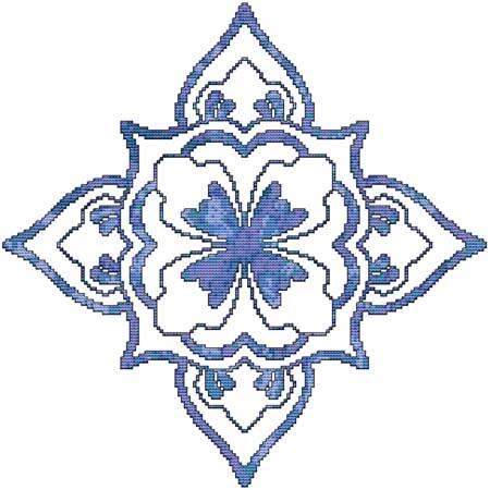 cross stitch pattern Blue Decorative Quilt Block 02