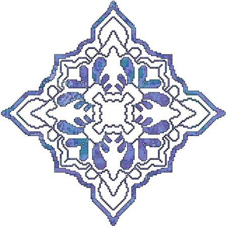 cross stitch pattern Blue Decorative Quilt Block 03