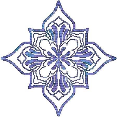 cross stitch pattern Blue Decorative Quilt Block 04