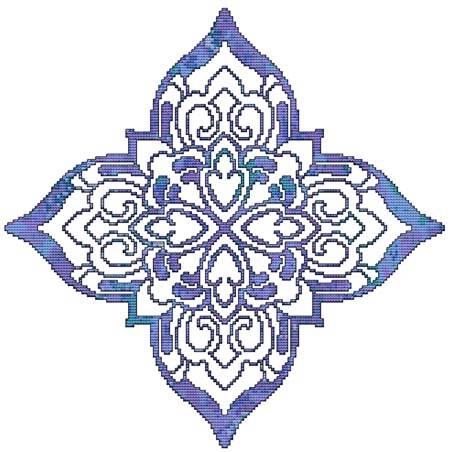 cross stitch pattern Blue Decorative Quilt Block 05