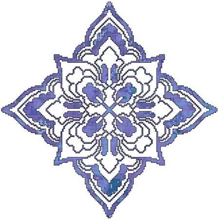 cross stitch pattern Blue Decorative Quilt Block 06