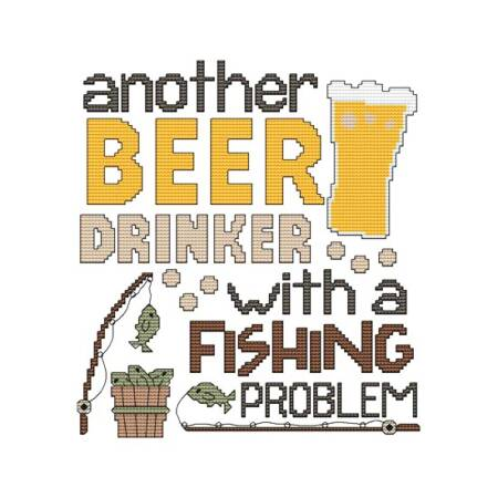 cross stitch pattern Another Beer Drinker - Fishing Problem