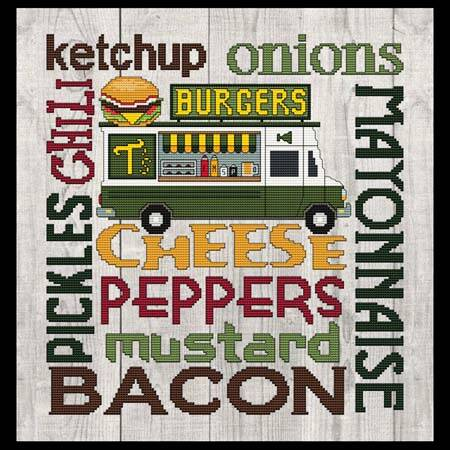 cross stitch pattern Subway Art - Food Truck - BURGERS