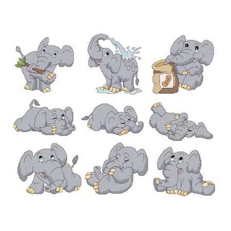 cross stitch pattern Cute Elephants Combo