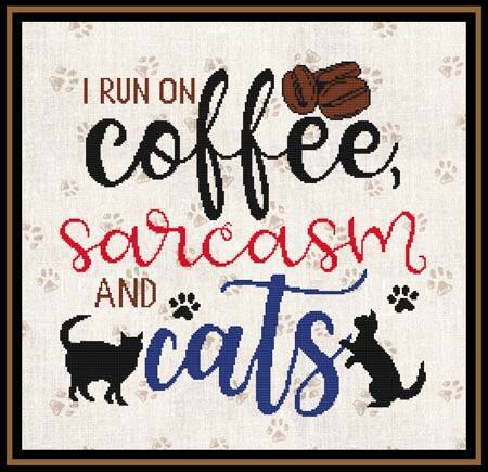 cross stitch pattern I Run On Coffee, Sarcasm and Cats
