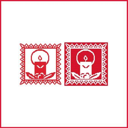cross stitch pattern Christmas Stencil Ornament - Candle