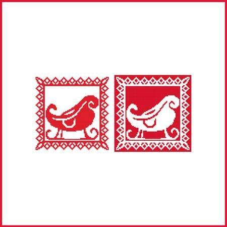 cross stitch pattern Christmas Stencil Ornament - Sleigh
