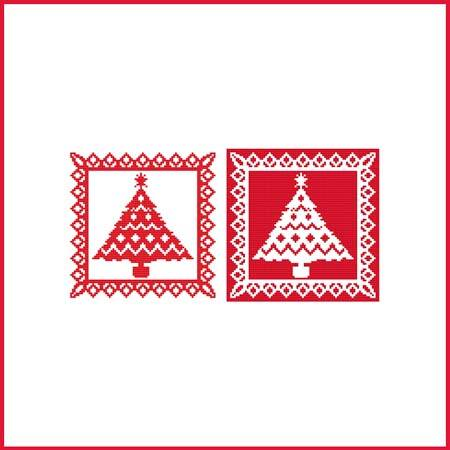 cross stitch pattern Christmas Stencil Ornament - Tree