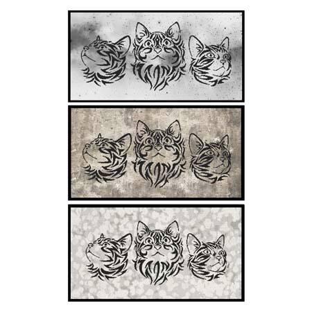 cross stitch pattern Tribal Cat Trio