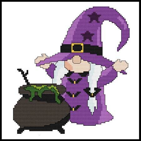cross stitch pattern Halloween Gnome - Cauldron