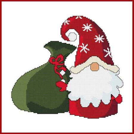 cross stitch pattern Christmas Gnome - Santa with gift sack