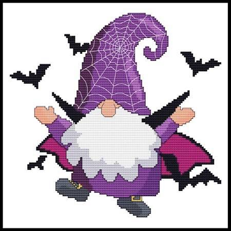 cross stitch pattern Halloween Gnome - Bat