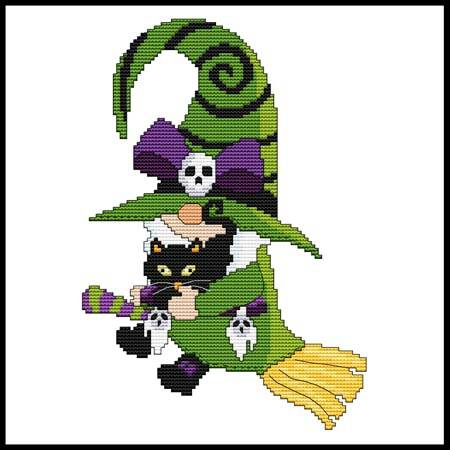 cross stitch pattern Halloween Gnome - Cat Witch