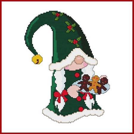 cross stitch pattern Christmas Gnome - Ms. Santa with Cookies