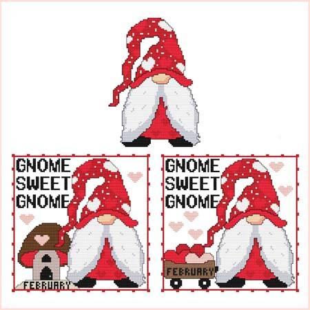 cross stitch pattern A Year Of Gnomes - FEBRUARY