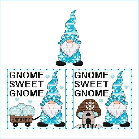 cross stitch pattern A Year Of Gnomes - JANUARY