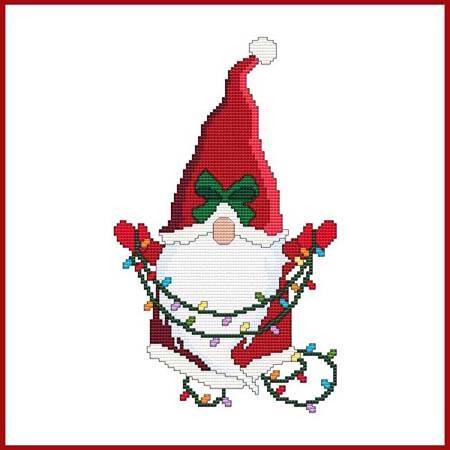 cross stitch pattern Christmas Gnome - Santa with Lights