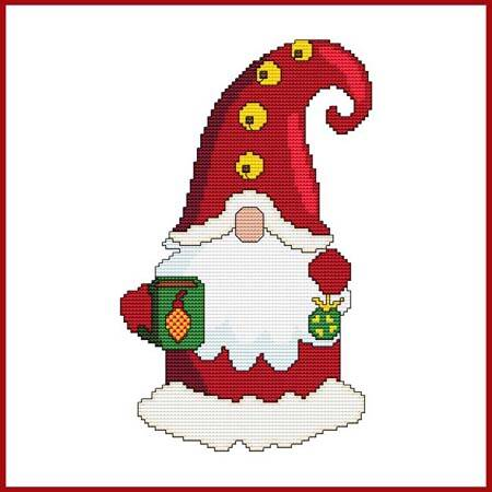 cross stitch pattern Christmas Gnome - Mug and Ornament