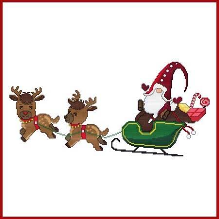 cross stitch pattern Christmas Gnome - Santa Reindeer Sleigh