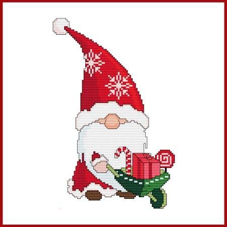 cross stitch pattern Christmas Gnome - Santa With Wheelbarrow