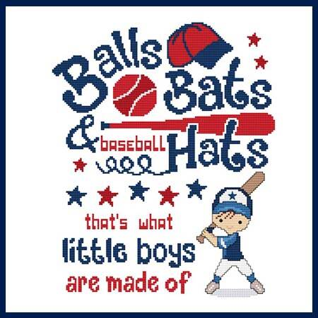 cross stitch pattern Balls Bats  Baseball Hats Little Boys