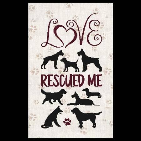 cross stitch pattern Love Rescued Me - Dogs