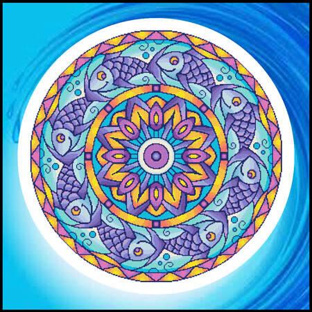 cross stitch pattern Mandala - Fish