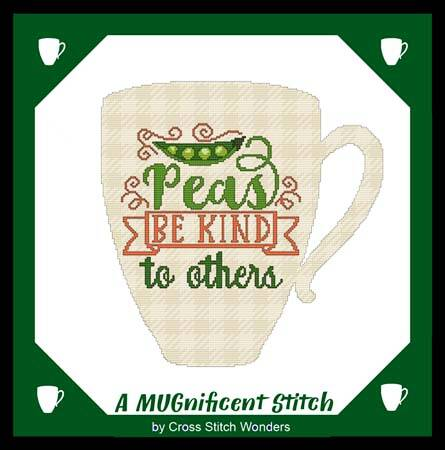cross stitch pattern A MUGnificent - PEAS BE KIND TO OTHERS