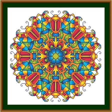 cross stitch pattern Mandala - Scarab