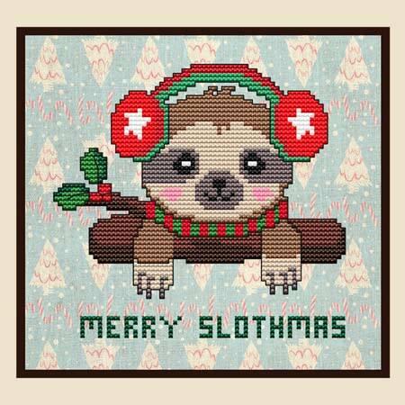 cross stitch pattern Merry Slothmas (Christmas)