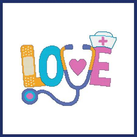 cross stitch pattern LOVE (Nursing)
