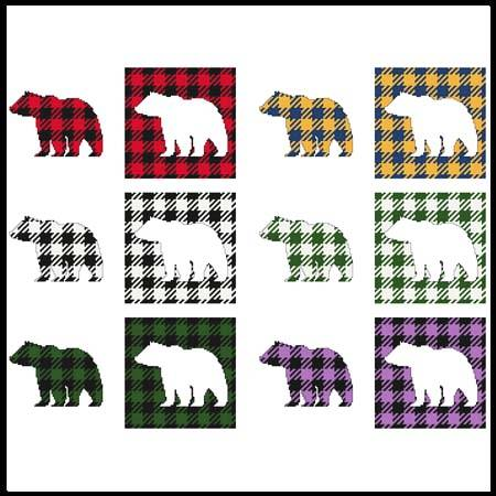 cross stitch pattern Fun With Plaid - Bear