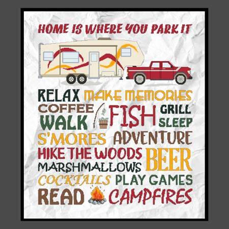 cross stitch pattern Home Is Where You Park It - 5TH Wheel