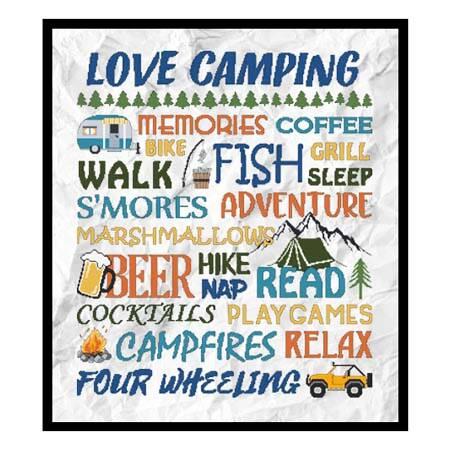 cross stitch pattern Love Camping - Colorful