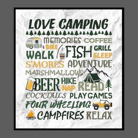 cross stitch pattern Love Camping - Greens  Yellows