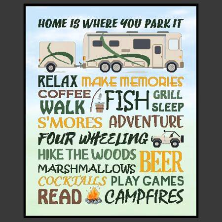 cross stitch pattern Home Is Where You Park It - Motorhome